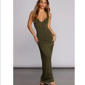 Windsor Sleeveless Knit Maxi Dress Olive Green L